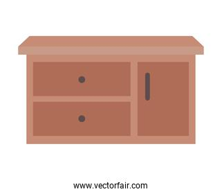 furniture with three drawers over a white background