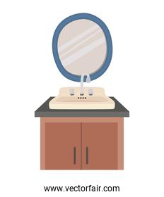 sink, mirror and shelf on a white background