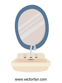 sink and mirror on a white background