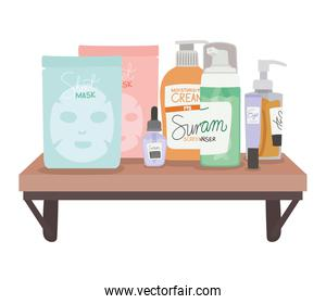 set of skincare icons on a shelf on a white background
