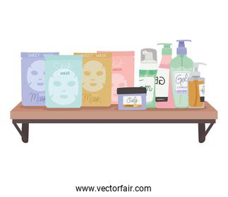 bundle of skincare icons on a shelf on a white background