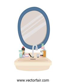 mirror and set of skincare icons on a sink
