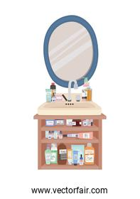 mirror and bundle of skincare icons on a furniture with two drawers