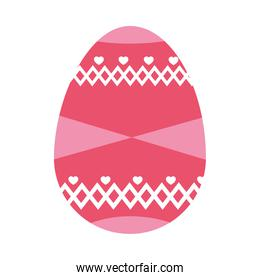 pink easter egg with decorative shapes and hearts, colorful design
