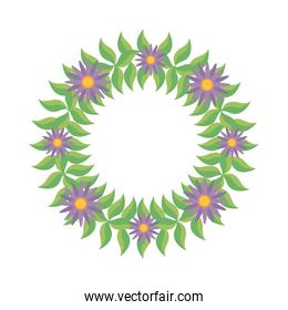 wreath of green leaves and purple flowers, colorful design