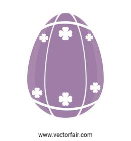 purple easter egg with clovers design