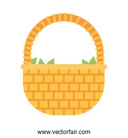 wicker basket with green leaves, colorful design