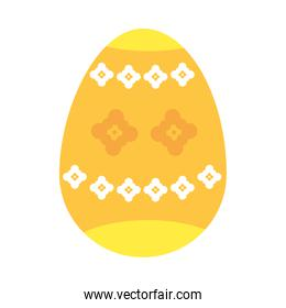 yellow easter egg with decorative flowers, colorful design