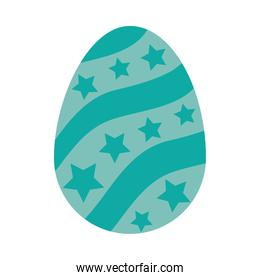 turquoise easter egg with decorative stars, colorful design