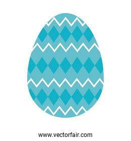 blue easter egg with decorative rhombus, colorful design