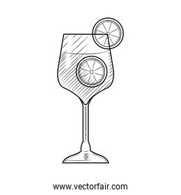 gin tonic cocktail icon, sketch style