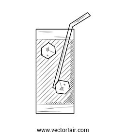 drink glass with straw, sketch style