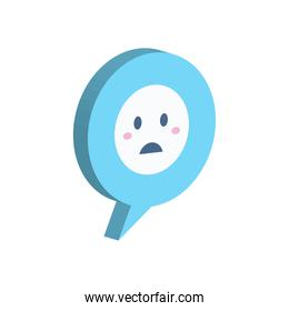 sad emoji in isometric communication bubble vector design