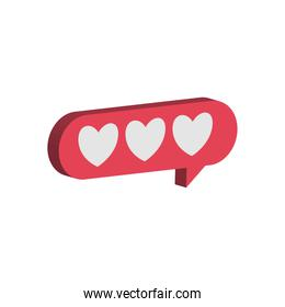 hearts in isometric communication bubble vector design
