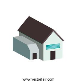solar panel on house isometric isolated vector design
