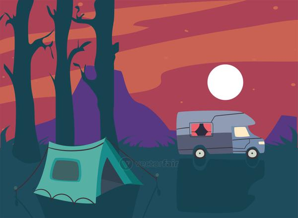purple camper trailer and tent at night vector design