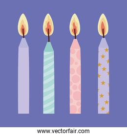 set of birthday candles on a purple background