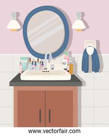 bathroom with a skincare products
