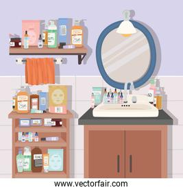 bathroom with bundle of skincare products