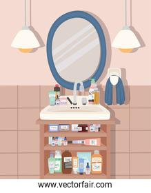 bathroom with a group of skincare products
