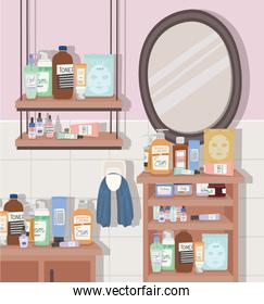 bathroom full of skincare products
