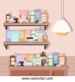 shelf and furniture full of skincare products