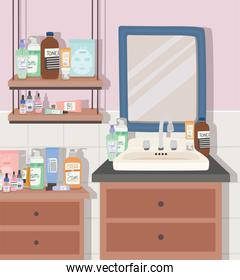 skincare products and furnitures in a bathroom