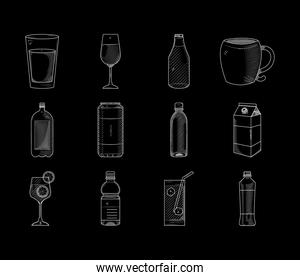 icon set of drinks, sketch style