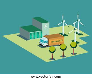 Ecological plant truck and wind mills isometric vector design