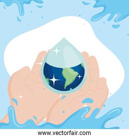 Water day with world drop on hands vector design