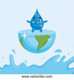 Water day with drop cartoon on world vector design