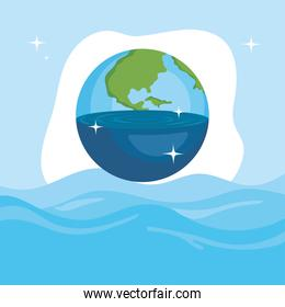 Water day with world over sea vector design