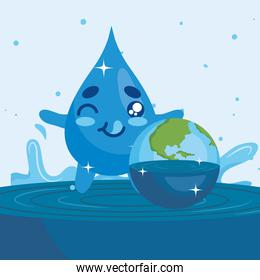Water day with drop cartoon winking and world vector design