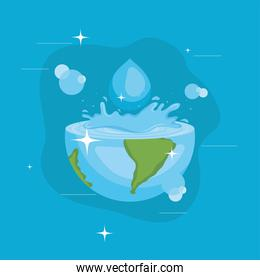 Water day with world splash and drop vector design