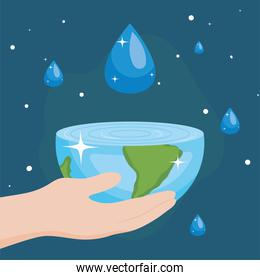 Water day with hand holding world and drop vector design