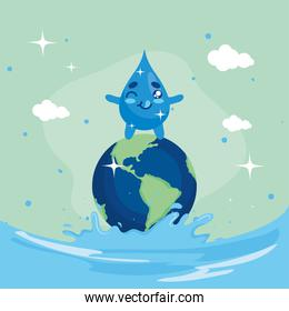 Water day with drop cartoon on world at ocean vector design