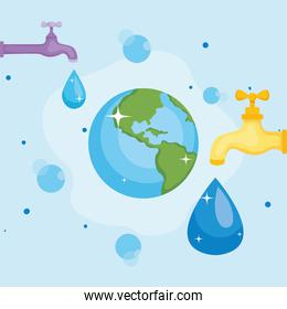 Water day with world drop and taps vector design