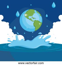 Water day with world over sea with splash vector design