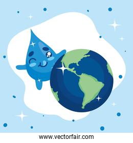 Water day with drop cartoon and world vector design