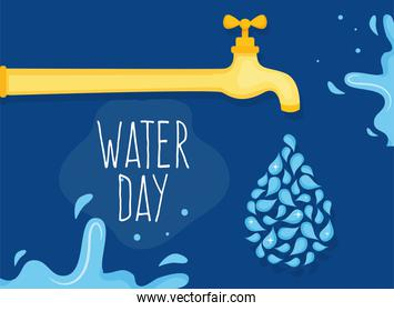 Water day with drops and tap vector design