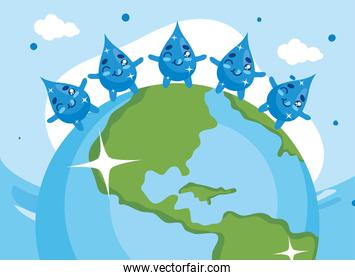 Water day with drops cartoons on world vector design