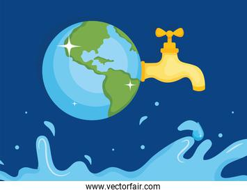 Water day with world tap and splash vector design
