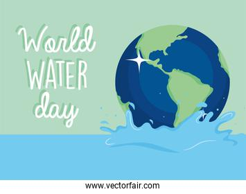 World water day with earth vector design