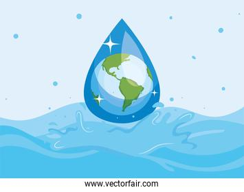 Water day with world drop on ocean vector design