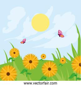 Spring landscape with flowers and butterflies vector design
