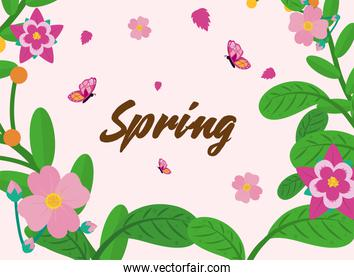Spring flowers leaves and butterflies vector design