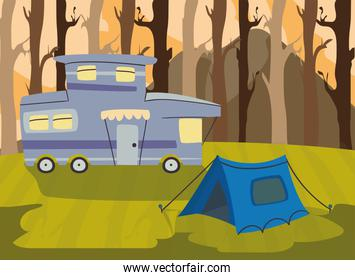 purple camper trailer and tent in forest vector design