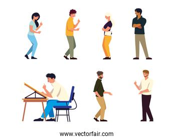 set different people talking and working at desk, teamwork