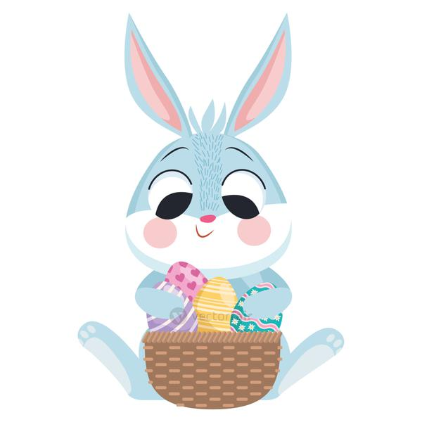 cute easter rabbit with eggs painted in basket character