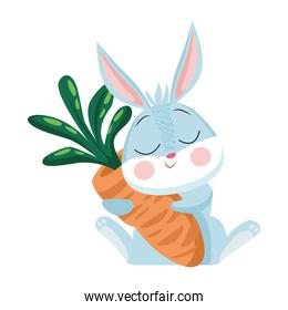 cute easter rabbit hugging carrot character